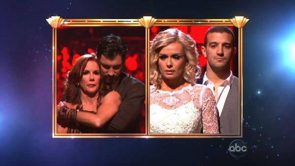 Melissa Gilbert and her partner Maksim Chmerkovskiy, Katherine Jenkins and her partner Mark Ballas await possible elimination on 'Dancing With The Stars: The Results Show' on Tuesday, May 8, 2012.
