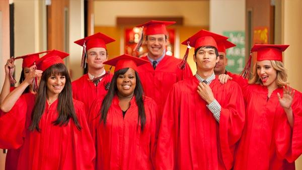 Naya Rivera, Lea Michele, Chris Colfer, Amber Riley, Cory Monteith, Harry Shum Jr., Mark Salling and Dianna Agron appear in a promotional photo for the Glee season 3 finale which aired on May 23, 2012. - Provided courtesy of Adam Rose/FOX