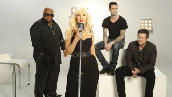 Adam Levine and the other judges appear in a promotional photo for the NBC show 'The Voice' in 2011.