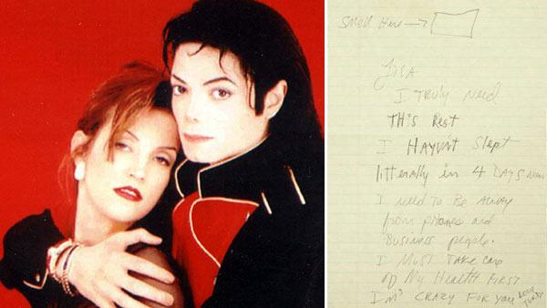 Michael Jackson and Lisa Marie Presley appear in a promotional photo for a 1995 Prime Time interview with Diane Sawyer. / A handwritten letter from Michael Jackson to Lisa Marie Presley appears in a photo from Juliens Auctions. - Provided courtesy of ABC / Juliens Auction