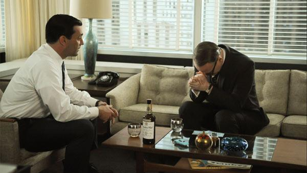 Jon Hamm and Jared Harris appear in a scene from Mad Men in an episode that aired on June 3, 2012. - Provided courtesy of AMC