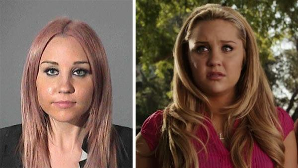 Amanda Bynes appears in a mug shot released by the Los Angeles County Sheriffs Department on April 6, 2012 after her DUI arrest. / Amanda Bynes appears in a scene from the 2010 movie Easy A. - Provided courtesy of Los Angeles County Sheriffs Department / Screen Gems / Sony Pictures