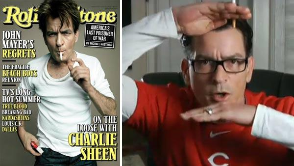 Charlie Sheen appears on the cover of Rolling Stones June 25, 2012 issue. / Charlie Sheen during Sheens Corner Episode 4, Building the Perfect Torpedo, the actors fourth uStream webcast posted on Monday, March 8, 2011. - Provided courtesy of Peggy Sirota / Rolling Stone / youtube.com/user/TheWYTV