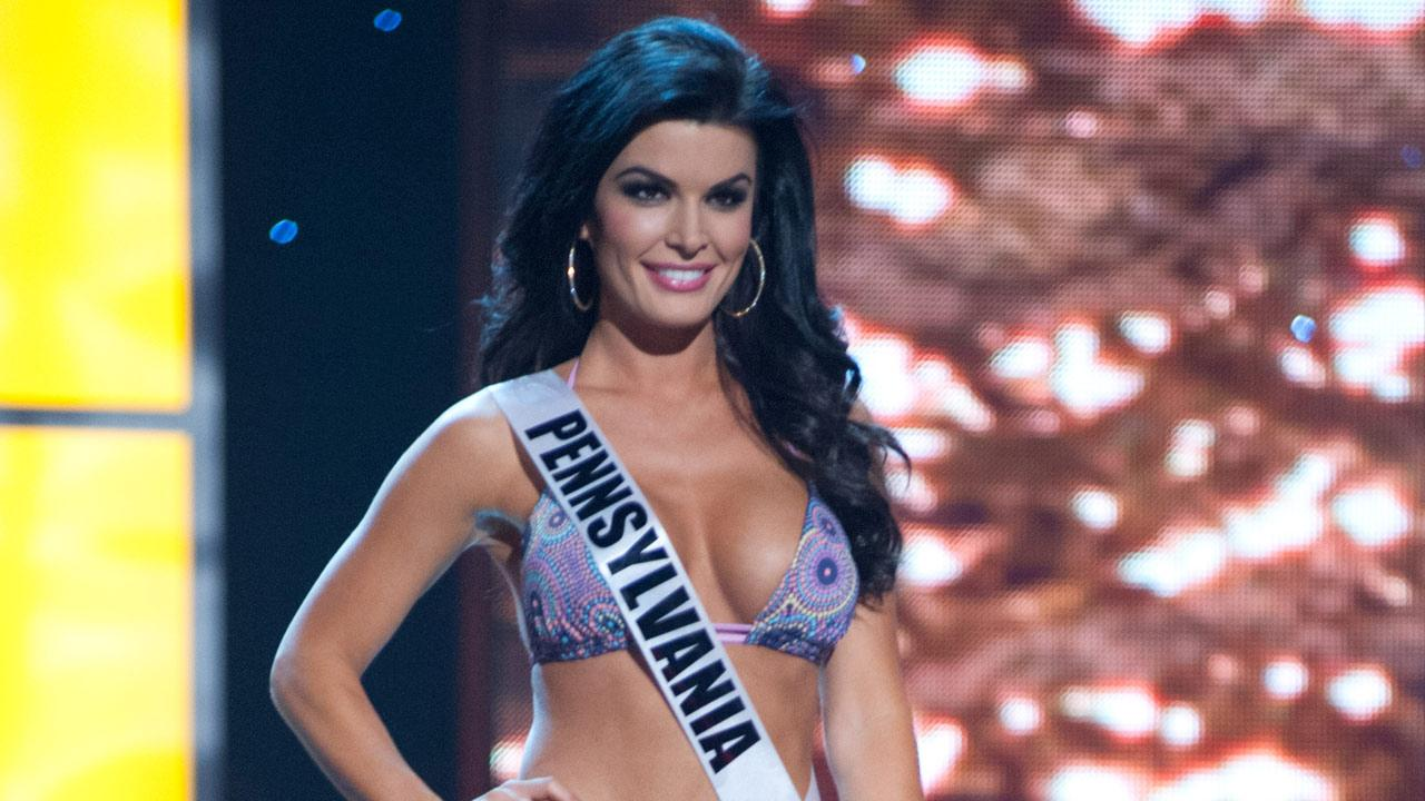 Miss Pennsylvania, Sheena Monnin, poses in a bikini during the Miss USA Presentation Show on May 30 from the Planet Hollywood Resort in Las Vegas, Nevada.