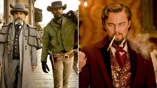Leonardo DiCaprio Christoph Waltz and Jamie Foxx appear in scenes from the 2012 film Django Unchained. - Provided courtesy of The Weinstein Company