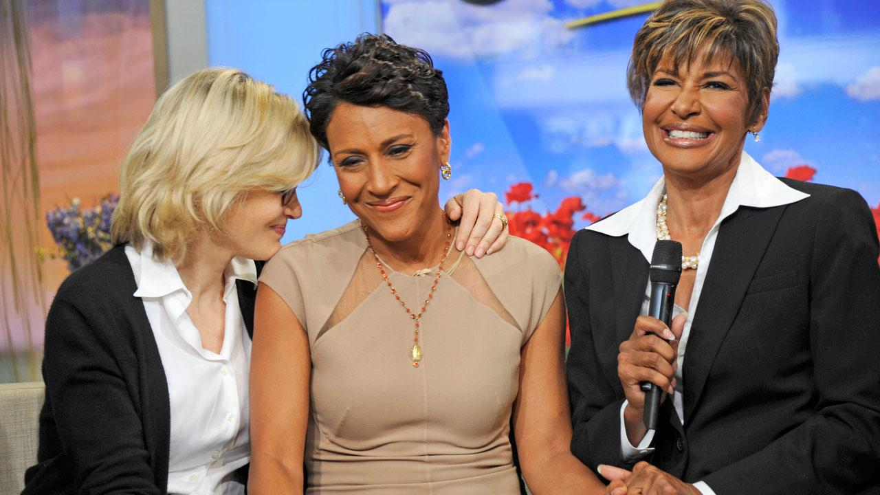 Robin Roberts appears in a photo with sister Sally Ann Roberts and Diane Sawyer after announcing her MDS diagnosis on June 11, 2012.