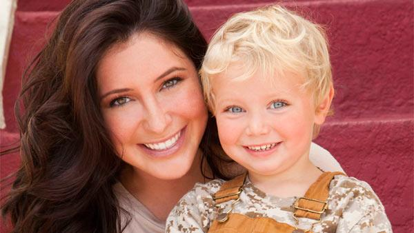 Bristol Palin (left), boyfriend Gino and son Tripp appear in a promotional photo for her new Lifetime reality show Bristol Palin: Lifes a Tripp, which premieres on June 19, 2012 at 10 p.m. - Provided courtesy of OTRC / A and E Television Networks, LLC. / Richard Knapp