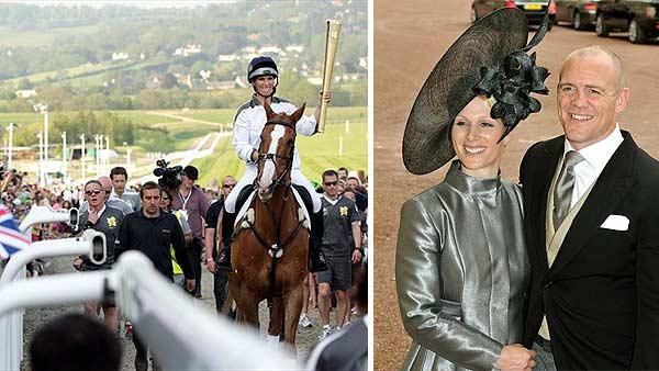 Zara Phillips carries the Olympic Flame through Cheltenham Racecourse on her horse Toytown on May 23, 2012. / Zara Phillips and fiance Mike Tindall leave the wedding reception for Prince William and Kate Middleton on Friday, April 29, 2011. - Provided courtesy of London Organising Committee of the Olympic and Paralympic Games / AP Photo / John Stillwell