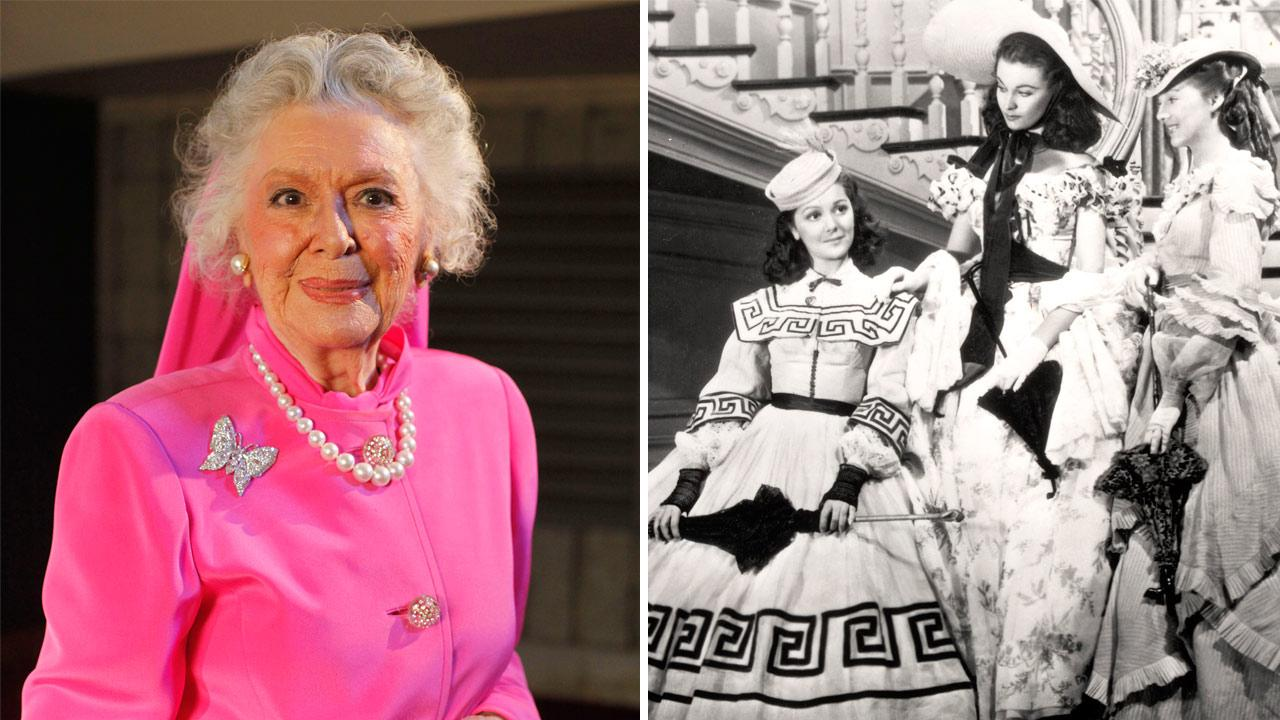 In this June 19, 2009 photo, actress Ann Rutherford poses for a photograph in Los Angeles.  / This undated image from the film Gone with the Wind shows, from left, Ann Rutherford, Vivien Leigh and Evelyn Keyes.