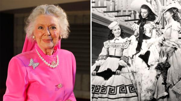 In this June 19, 2009 photo, actress Ann Rutherford poses for a photograph in Los Angeles.  / This undated image from the film 'Gone with the Wind' shows, from left, Ann Rutherford, Vivien Leigh and Evelyn Keyes.