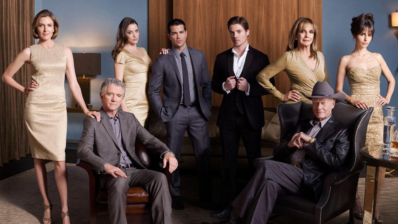 Brenda Strong, Julie Gonzalo, Patrick Duffy, Jordana Brewster, Larry Hagman, Josh Henderson and Jesse Metcalfe appear in a promotional photo for Dallas in 2012.