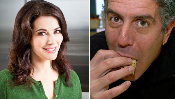 Nigella Lawson appears in an undated photo from her official Twitter account. / Anthony Bourdain appears in a still from Anthony Bourdain: No Reservations. - Provided courtesy of Twitter.com/Nigella_Lawson / Travel Channel
