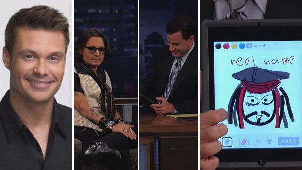 Ryan Seacrest appears in a promotional photo for FOXs American Idol. / Jimmy Kimmel holds a picture of a tablet displaying a sketch of Jack Sparrow character on Draw Something, as seen on ABCs Jimmy Kimmel Live! in May 2012. - Provided courtesy of FOX / ABC