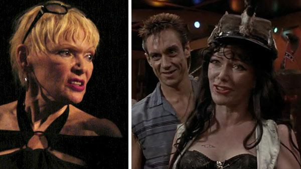 Right: Susan Tyrrell appears at a panel discussion of 'Forbidden Zone' at the Egyptian Theatre in Los Angeles on July 30, 2008. / Left: Susan Tyrrell and Iggy Pop appear in a scene from the 1990 movie 'Cry-Baby.'