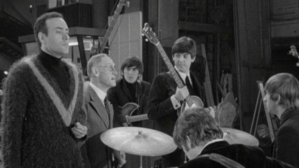 Victor Spinetti, Robin Ray, Wilfrid Brambell, George Harrison, Paul McCartney, John Lennon and Ringo Starr appear in a scene from the 1964 film A Hard Days Night. - Provided courtesy of Miramax Films