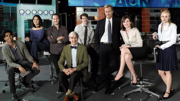 Dev Patel, Olivia Munn, Thomas Sadoski, Sam Waterston, John Gallagher Jr., Jeff Daniels, Emily Mortimer and Alison Pill appear in a still from the HBO series, The Newsroom. - Provided courtesy of HBO / Brigitte Lacombe
