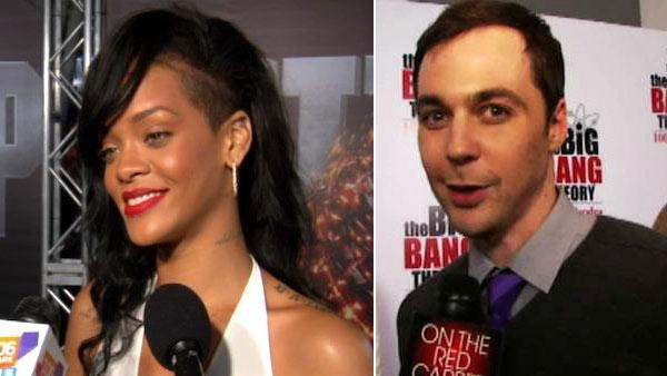 Rihanna talks to OnTheRedCarpet.com at the premiere of Battleship on May 10, 2012. / Jim Parsons talks to OnTheRedCarpet.com on Dec. 15, 2011 at a Los Angeles party to celebrate the 100th episode of CBS series The Big Bang Theory. - Provided courtesy of OTRC / OTRC