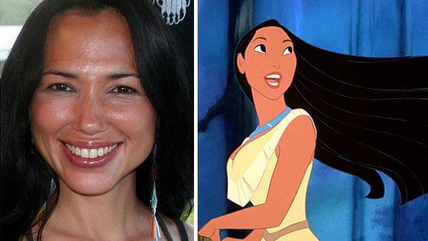 Irene Bedard attends the Alabama-Coushatta Reservation's 2007 Powwow in Livingston, Texas on June 2, 2007. / Pocahontas appears in a scene from the 1995 Disney film 'Pocahontas.'