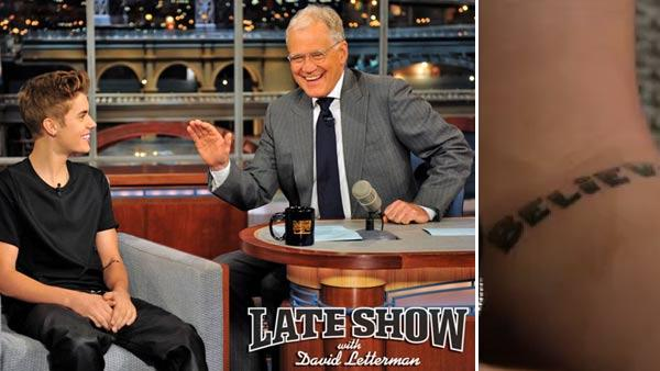 Justin Bieber and David Letterman appear in a still from the June 21, 2012 episode of The Late Show with David Letterman. - Provided courtesy of CBS