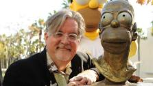 Creator and Executive Producer Matt Groening and Homer during the dedication ceremony of the bronze bust of Homer Simpson, along with his signature donut on the FOX Pico Lot on Thursday, Feb 16, 2012 in Los Angeles, Calif. - Provided courtesy of Photo courtesy of FOX