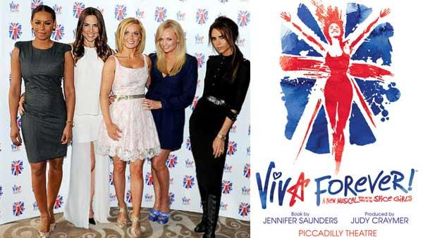 Victoria Beckham, Melanie Brown, Emma Bunton, Melanie Chisholm and Geri Halliwell appear at the Viva Forever announcement on June 26, 2012. / The official promotional poster for the muscial. - Provided courtesy of twitter.com/victoriabeckham/status/217629372255965184/photo/1