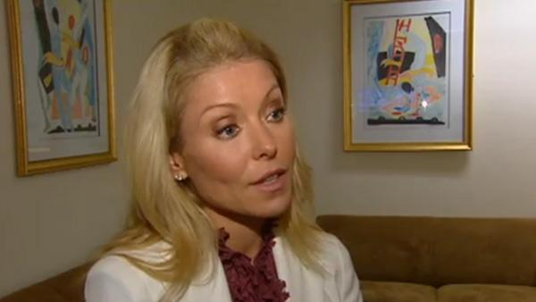 Kelly Ripa talks to WABC Television on April 14, 2011 following announcement that ABC soap opera 'All My Chil