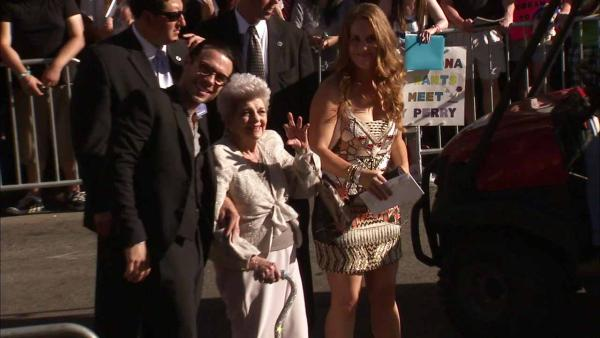 Katy Perry's grandmother appears in a photo from her film's premiere at Grauman's Chinese Theatre in Hollywood, California on June 26, 2012.