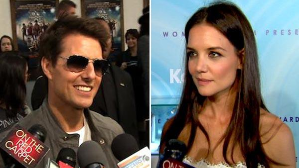 Tom Cruise talks to OnTheRedCarpet.com at the Hollywood premiere of Rock of Ages on June 8, 2012. / Katie Holmes tells OnTheRedCarpet.com about her Fathers Day plans for Tom Cruise at the Women In Film gala in June 2011. - Provided courtesy of OTRC