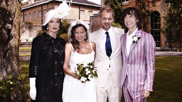 This photo dated Saturday June 30, 2012 released by LD Communications shows Jade Jagger, 2nd left, at her wedding to Adrian Fillary, 2nd right, with her parents Bianca Jagger and Mick Jagger at Aynhoe Park, Banbury, England, Saturday June 30, 2012.
