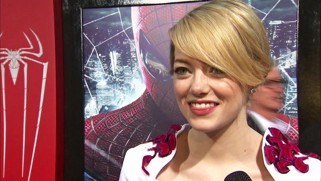 Emma Stone talks to OnTheRedCarpet.com at the Hollywood premiere of The Amazing Spider-Man, at Westwoods Regency Village Theatre in Los Angeles on June 28, 2012.