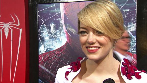 Emma Stone talks to OnTheRedCarpet.com at the Hollywood premiere of The Amazing Spider-Man, at Westwoods Regency Village Theatre in Los Angeles on June 28, 2012. - Provided courtesy of OTRC