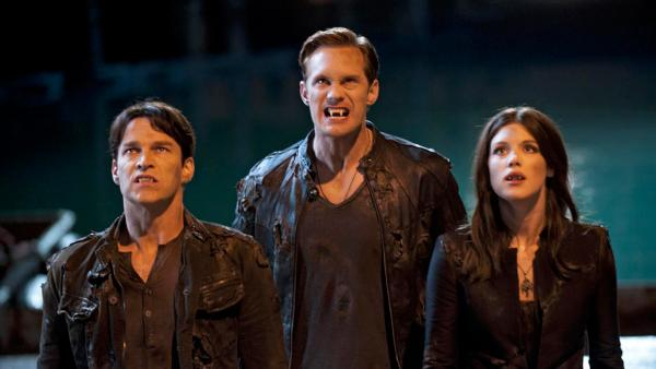 Alexander Skarsgard, Stephen Moyer and Lucy Griffiths appear in a scene from the fifth season of True Blood in 2012. - Provided courtesy of HBO