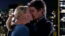 Andrew Garfield and Emma Stone kiss in a scene from the 2012 film The Amazing Spider-Man. - Provided courtesy of none / Columbia Pictures