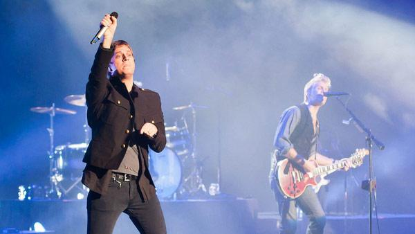 Rob Thomas is pictured on stage at a Matchbox Twenty private concert in Las Vegas on Nov. 15, 2011.