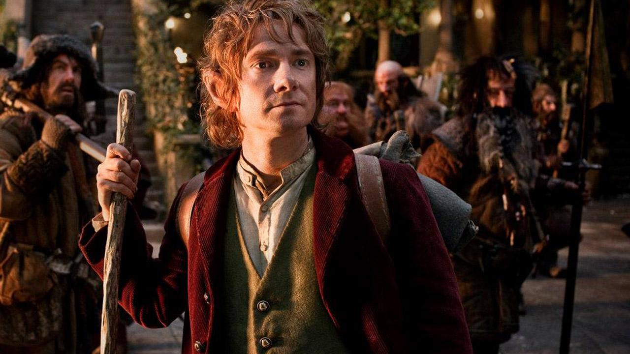 L-R: James Nesbitt as Bofur, Martin Freeman as Bilbo Baggins (front), Stephen Hunter as Bombur, Graham McTavish as Dwalin, William Kircher as Bifur and Jed Brophy as Nori in New Line Cinemas and MGMs The Hobbit: An Unexpected Journey.