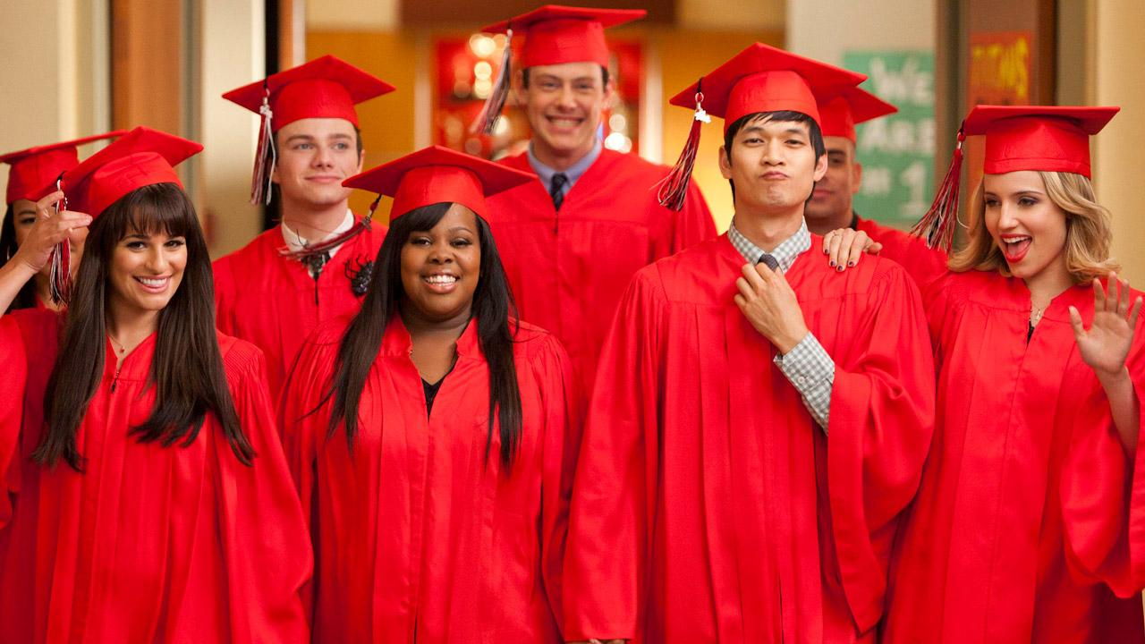 Naya Rivera, Lea Michele, Chris Colfer, Amber Riley, Cory Monteith, Harry Shum Jr., Mark Salling and Dianna Agron appear in a promotional photo for the Glee season 3 finale which aired on May 23, 2012.
