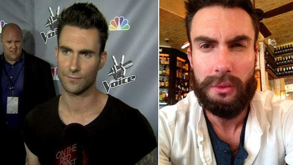 Adam Levine appears in a photo he Tweeted displaying facial hair on July 7, 2012. / Adam Levine talks to OnTheRedCarpet.com at the season 1 finale of The Voice in June 2011. - Provided courtesy of OTRC / Twitter.com/adamlevine