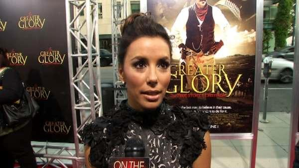 Eva Longoria talks to OnTheRedCarpet.com at the premiere for her film 'For Greater Glory' on May 29.