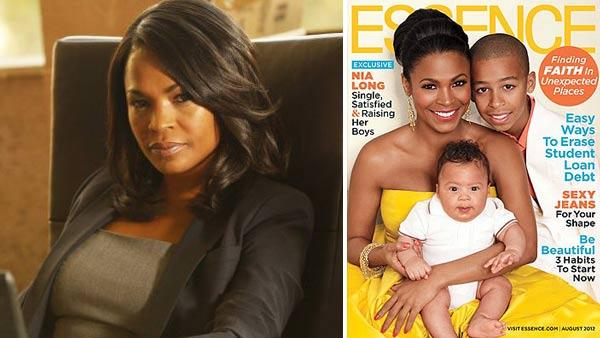 Nia Long appears in a still from Chase. / Nia Long and her sons Kez Sunday Udoka and Massai appear on the August 2012 cover of Essence magazine. - Provided courtesy of NBC Universal / Essence magazine
