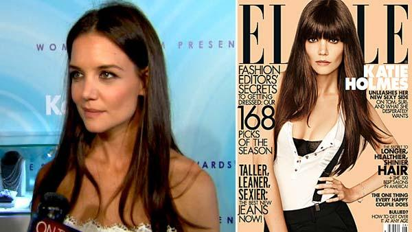 Katie Holmes talks to OnTheRedCarpet.com at the Women In Film gala on June 17, 2011. / Katie Holmes appears on the August 2012 cover of Elle magazine. - Provided courtesy of OTRC / Elle