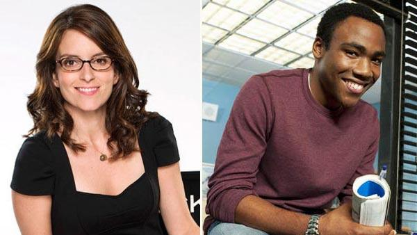Tina Fey appears in a promotional photo for the NBC series 30 Rock. / Donald Glover appears in a promotional photo for the NBC series Community. - Provided courtesy of NBC