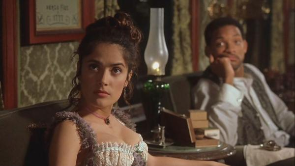 Salma Hayek appears with Will Smith in a scene from the 1999 movie 'Wild Wild West.'