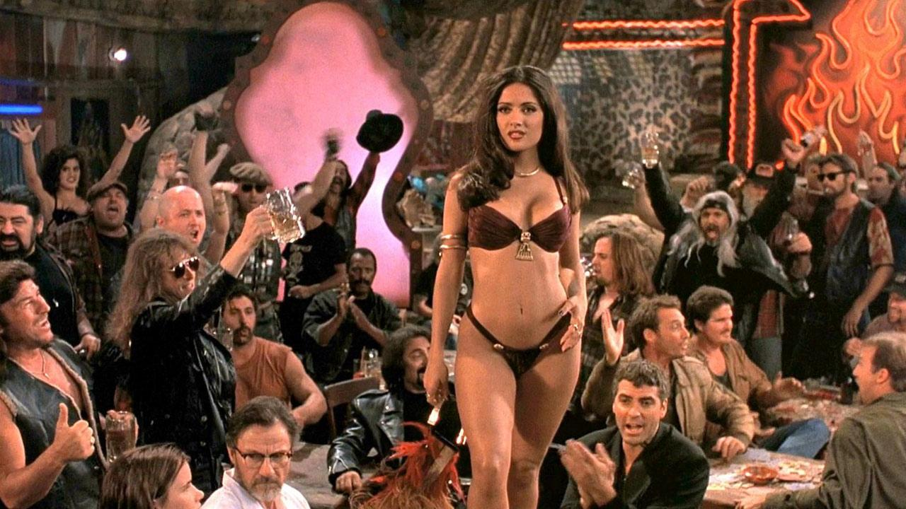Salma Hayek appears as Santanico Pandemonium in Robert Rodriguez 1996 film From Dusk Till Dawn. <span class=meta>(Dimension Films)</span>