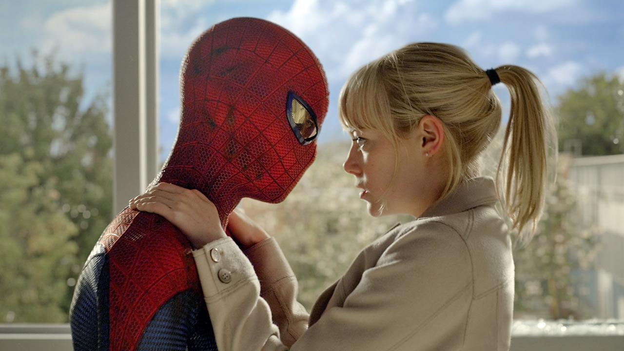 Andrew Garfield and Emma Stone in a scene from the 2012 film, The Amazing Spider-Man.