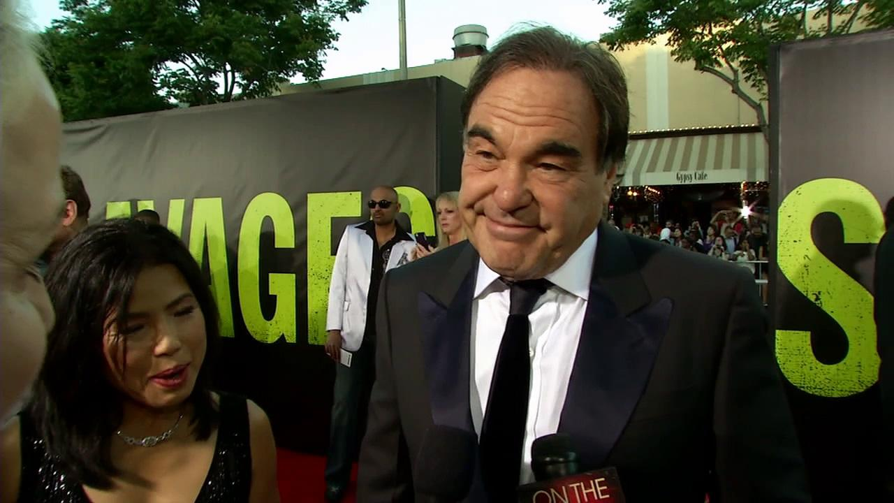 Oliver Stone talks to OnTheRedCarpet.com at the premiere of his film Savages in Los Angeles on June 25, 2012.
