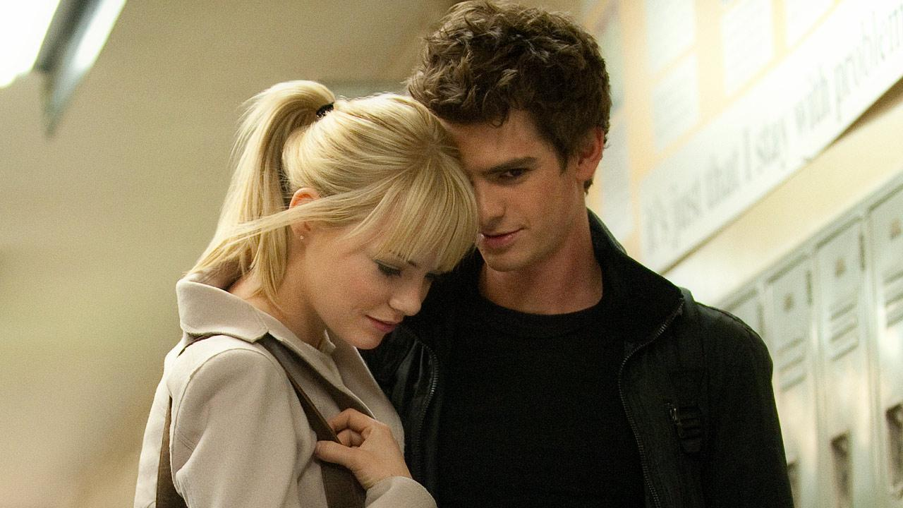 Andrew Garfield and Emma Stone appear in a scene from the 2012 film The Amazing Spider-Man.