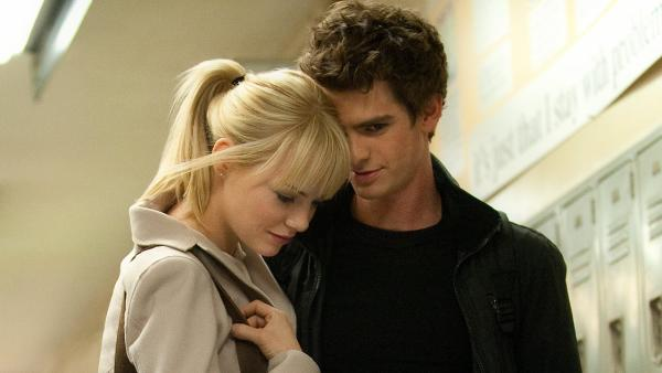 Andrew Garfield and Emma Stone appear in a scene from the 2012 film The Amazing Spider-Man. - Provided courtesy of Columbia Pictures