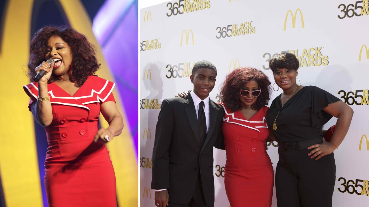 Chaka Khan shares the spotlight on the red carpet with fellow honorees, teenage medical innovator Tony Hansberry II, and youth empowerment activist Mary-Pat Hector, at the McDonalds 365Black Awards ceremony in New Orleans on July 6, 2012.Alstek Photography