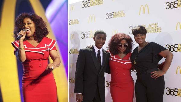 Chaka Khan shares the spotlight on the red carpet with fellow honorees, teenage medical innovator Tony Hansberry II, and youth empowerment activist Mary-Pat Hector, at the McDonald's 365Black Awards ceremony in New Orleans on July 6, 2012.