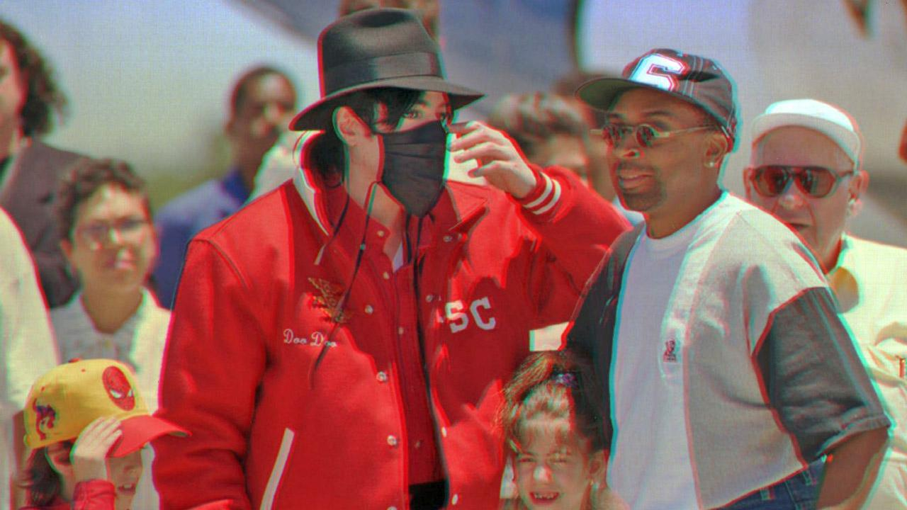 Michael Jackson and filmmaker Spike Lee, right, accompanied by two unidentified children, arrive at the airport in the northeastern Brazilian city of Salvador on Friday, Feb. 9, 1996.